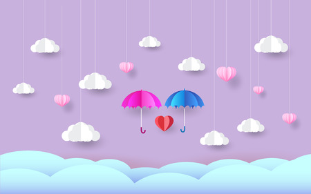 umbrella in the sky, paper art style,love day