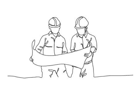 Linienbau,Bauingenieur,Architekten und Arbeiter,Vektordesign