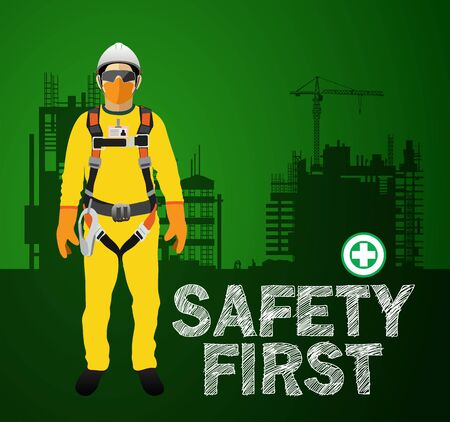 Personal Protect Equipment, safety harness , construction vector