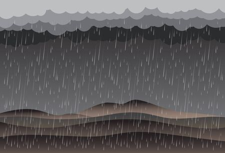 Cloud and rain, rainy season, vector design , illustration. Çizim