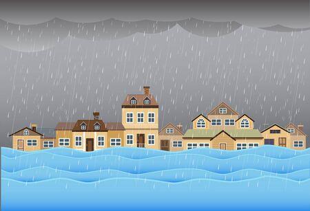 Hochwasserkatastrophe, Hochwasser in der Stadtstraße, Vektordesign Vektorgrafik