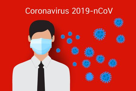 Coronavirus 2019-nCoV concept, Mask to protection, vector design
