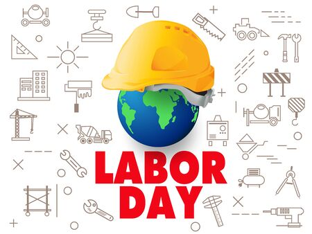 happy labor day,national day, The engineer hat placed on the globe, vector design.