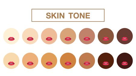 skin tone, girl mouths with red lipstick on background ,vector icon