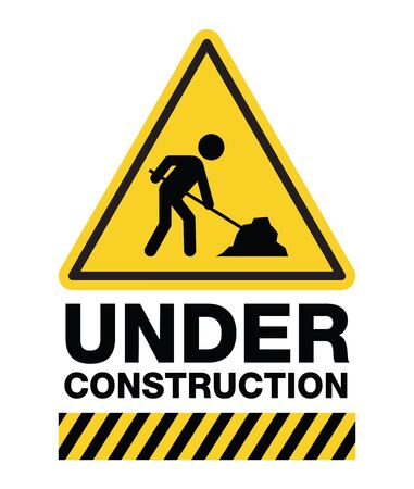 Under construction sign, a man digging ground icon, vector design.