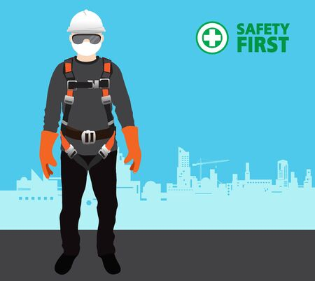 safety harness equipment and lanyard for work at heights, construction vector
