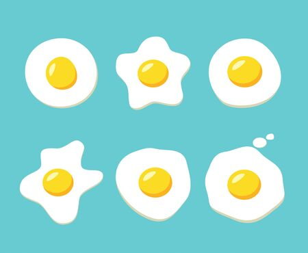 Fried egg, Top view cartoon drawing, vector design.