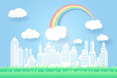 beautiful rainbow and flowers in the city scape , paper art style.