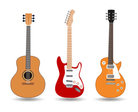 acoustic guitar icon, Used to play music and notes, for sing a song, vector design. Vectores