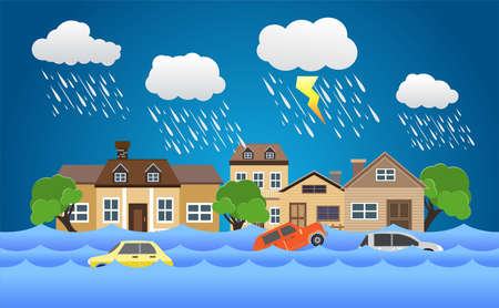Flood disaster, flooding water in city street, vector design Vectores
