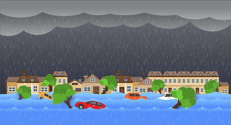 Flood natural disaster with house, heavy rain and storm , damage with home, clouds and rain