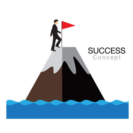 Success concept,flag on the mountain,businessman win, Eps10 file