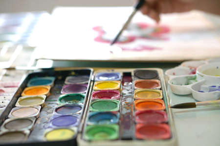 Watercolor palette, artist painting picture
