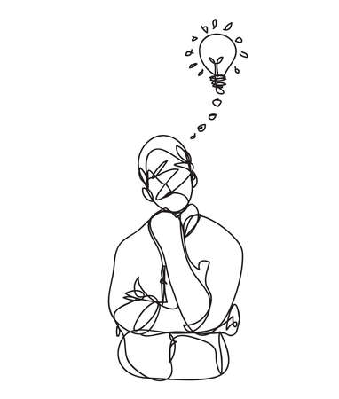 a man thinking line drawing style,vector design Vectores