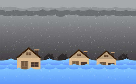 Flood natural disaster with house, heavy rain and storm , damage with home, clouds and rain, flooding water in city, Flooded house.