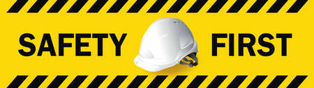 work safety, Engineer helmet on yellow background, safety equipment, construction concept, vector design