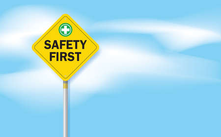 safety first sign and clouds on blue sky background, vector  design. Vectores