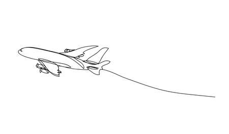 a plane , line drawing style,vector design