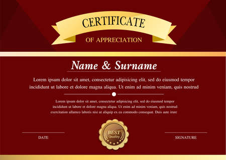 certificate template, diploma design,   graphic background, warranty vector design.