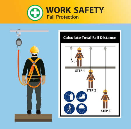 Fall Protection, Construction worker safety first, vector design Vettoriali
