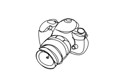 camera ,line drawing style, vector design