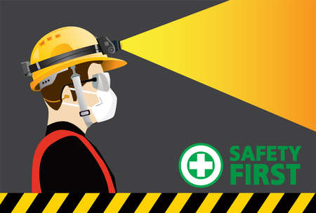 safety equipment with Headlamp , construction concept, Yellow safety hard hat and Headlights . Vector illustration