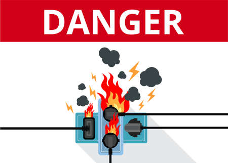 Power plug is fully utilised with fire circuit Vector Illustratie