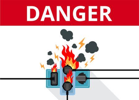 Power plug is fully utilised with fire circuit Ilustração Vetorial