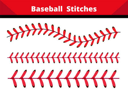 Baseball Stitches on a white and black background , vector design. Vector Illustration