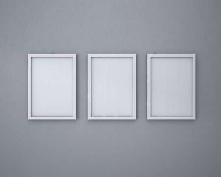 3 Blank frame on  gray wall. 免版税图像 - 44485960