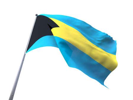 flying flag: Bahamas flying flag isolate on white background. Stock Photo