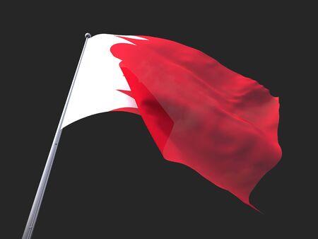 flying flag: Bahrain flying flag isolate on black background. Stock Photo