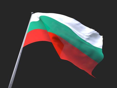 flying flag: Bulgaria flying flag isolate on black background.