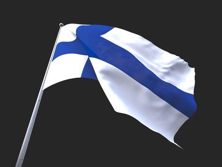 flying flag: Finland flying flag isolate on black background.