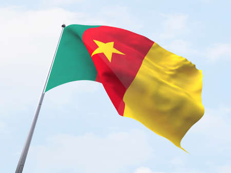cameroon: Cameroon flag flying on clear sky. Stock Photo