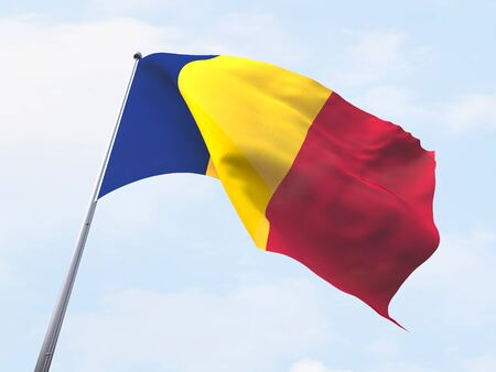 chad flag: Chad flag flying on clear sky. Stock Photo