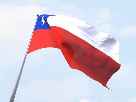 bandera de chile: bandera de Chile que vuelan en el cielo claro.