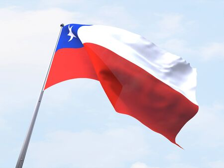chile flag: Chile flag flying on clear sky. Stock Photo