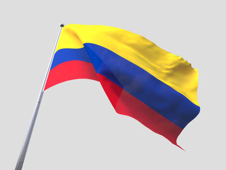 flying flag: Colombia flying flag isolate on white background.