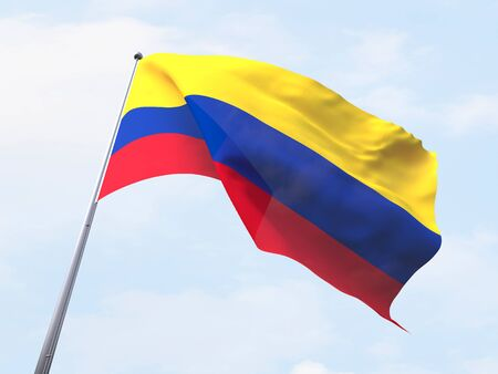 bandera colombia: Colombia flag flying on clear sky. Foto de archivo