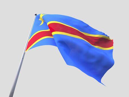 flying flag: Congo flying flag isolate on white background.