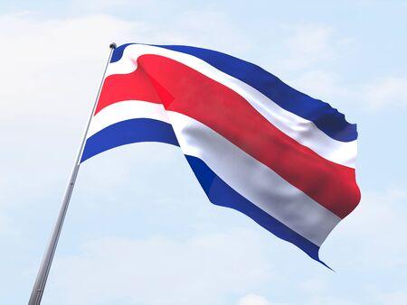 bandera de costa rica: Costa Rica bandera ondeando en el cielo claro. Foto de archivo