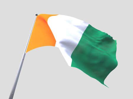 flying flag: Ivory Coast flying flag isolate on white background.