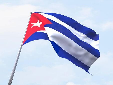 cuba flag: Cuba flag flying on clear sky. Stock Photo
