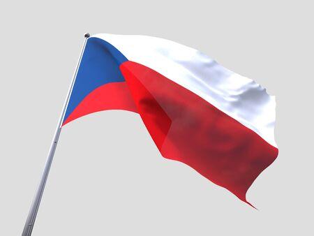 flying flag: Czech Republic flying flag isolate on white background.