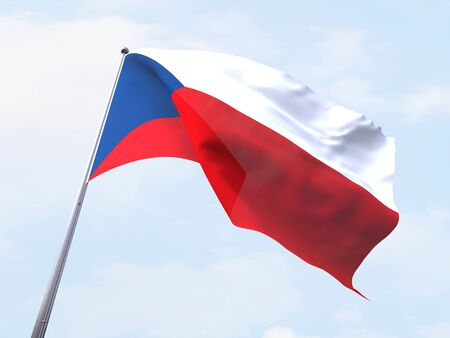 czech republic flag: Czech Republic flag flying on clear sky.