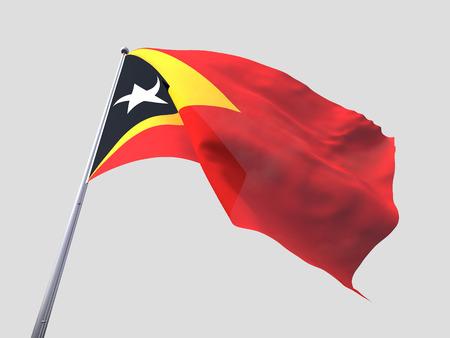 flying flag: Timor leste flying flag isolate on white background. Stock Photo