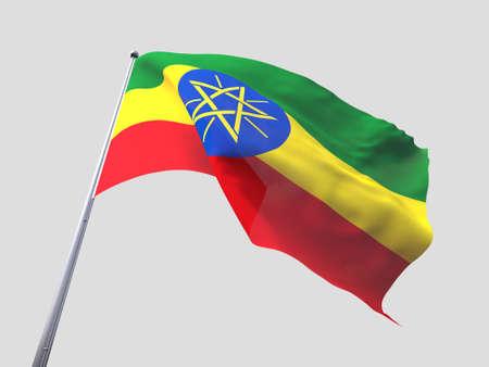 flying flag: Ethiopia flying flag isolate on white background.