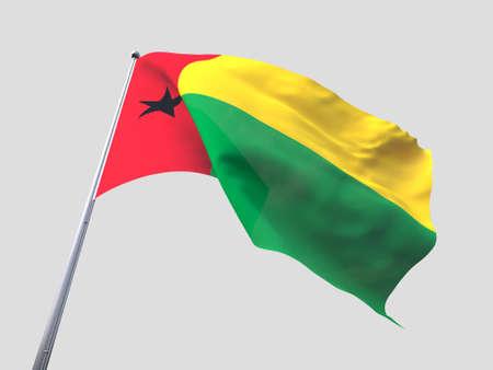 flying flag: Guinea Bissau flying flag isolate on white background.