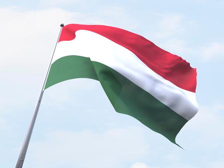 Hungary flag flying on clear sky.